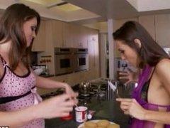 TORI BLACK AND CELESTE STAR Lesbian fun with icing