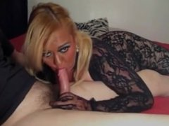 black lace bondage & blowjob
