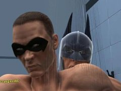 Robin and Batman's hot steamy shower sc