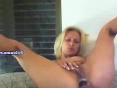 hot blonde dildo's her ass live on webcam
