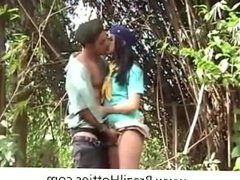 Brazilian couple having sex in the forest