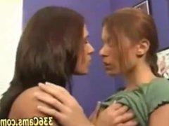 Sexy Lesbian Girlfriends Bebe & Cayton Kissing Into Office On Webcam