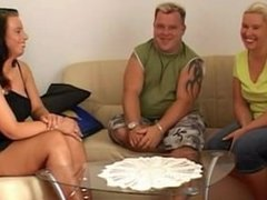 Mandy Blue fucks this fat guy and his thick girlfriend