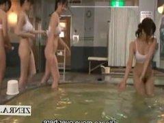 Subtitled Japanese sauna ladies bottomless massage