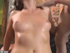 Sexy brunette takes on two cocks and takes one anal