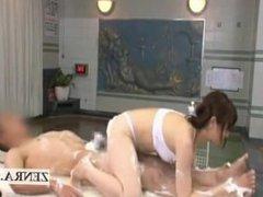 Subtitled Japanese sauna lady inner thigh soapy massage