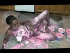 Amateur ebony getting messy and sweet