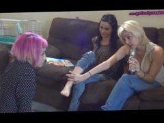 sisters degrade slave girl foot worship