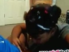 Sweet ebony GF gives blowjob and gets facial