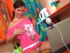 Cute brunette teen loves stripping part4