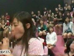 Subtitled gargantuan Japanese CFNM blowjob round robin