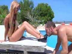 Hot blonde by the pool foot worshipped