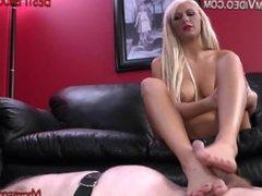 Strapon Femdom humiliation spanking foot job on male slave