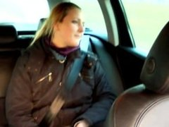 Blonde euro babe blows her driver on the back seat