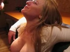 Big titted blonde covered in cum