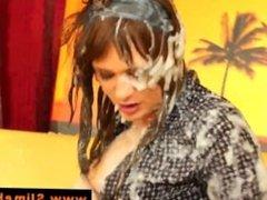 Bukkake gloryhole babe getting slimed with cumshots