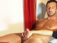 Italian stalion get wanked his huge cock in his 1srt porn movie!