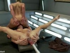 2 hot babes getting pounded by fucking machines