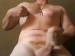 Fat cock truck driver on webcam... at home
