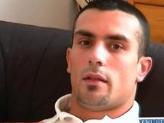 Handsome french guy get wanked his huge cock by us!