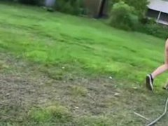 Young horny couple fucking in garden