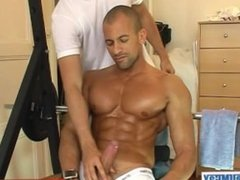 Hunk guy get wanked his huge cock.