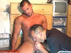 A handsome hunk guy get sucked by our assistant.