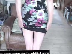 Hairy, posh British housewife lifts her skirt to show her tight panties