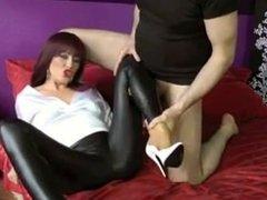 Handjob in Leather Leggings
