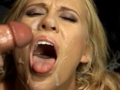 Slut Has Trouble Eating Bukkake