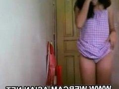 cute asian filipina nerd girlfriend stripping on webcam