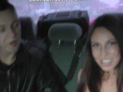 Brunette suck in the car for 100 bucks