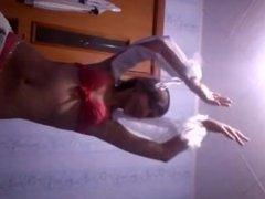 Cute girl belly dancing