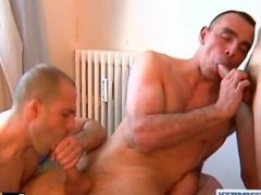 2 hunk guys with huge cocks get sucking our assistant in spite of him!