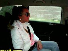 Amateur euro babe sucks her taxi driver