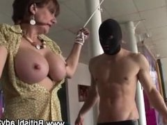 Big tits mature babe sucks on cock