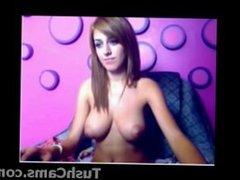 Beautiful busty teen teasing on cam show