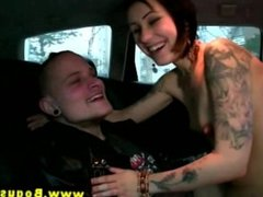 Euro tattoo hottie wants threesome with cabbie