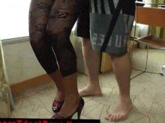 Ebony shemale in lingerie sucks on cock for lucky guy