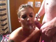 Sexy Janca takes facials in a bukkake party