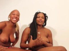 Ebony teens have wild threesome with crazy squirt at the end for hours