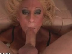 Big tit blonde deepthroats cock