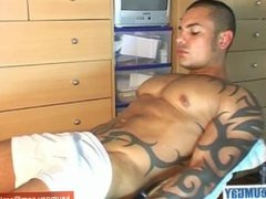 Ricci, a cute hunk guy get wanked his huge cock by us !