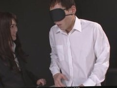 Megumi Shino Rewards Two Male Slaves With Blowjobs
