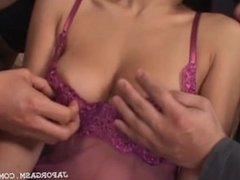 Asian threesome with hottie getting her tits licked