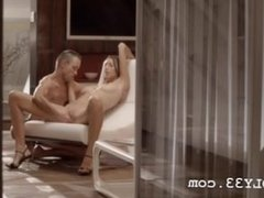 Luxury sex with gentle babe on a chair