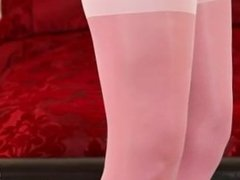 Sexy pink nylon stockings and hot woman