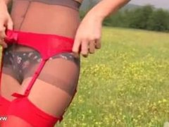 neat striptease outdoor by the forest