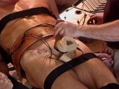 Bound muscle hunk gets elecro stim testicle punishment from older top.
