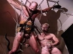 CBT bottom gets balls bashed and cums.